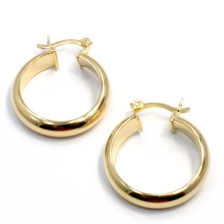 Gold 18k GF Plain Medium Hoop Earrings Fashion Sexy Lady 20mm