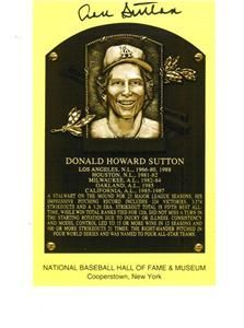 HOF Plaque Postcard Signed by Don Sutton