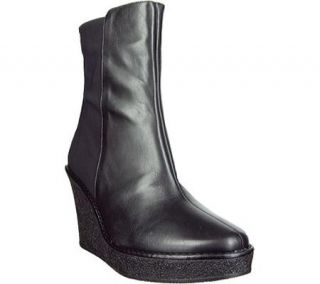 265 New Donald Pliner Tikle 06D Black Leather Wedge Above Ankle Boot