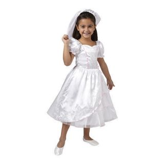 Dream Dazzlers Bride Dress Up Set Puff Sleeves White Size 7 8
