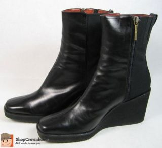NIB $240 Donald Pliner Black Ankle Boots Sz 8.5 Mid Calf Zip Up Made