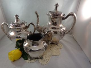 Antique Forbes Repousse Chased Quadruple Silver Plate Tea Coffee Set