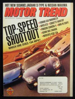 Motor Trend Magazine July 1999 Top Speed Shootout