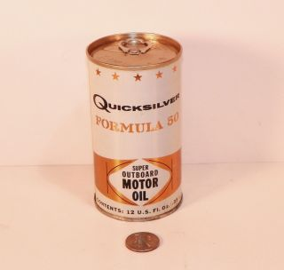 Vintage N O s Full Oil Can Mercury Quicksilver Outboard Motor Oil 1970