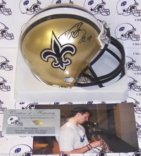 DREW BREES HAND SIGNED NEW ORLEANS SAINTS MINI HELMET with PICTURE