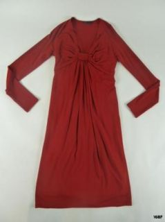 Donna Karan Collection Red Knit Knotted Bodice Dress Large