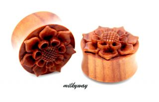Sunflower Wood Organic Ear Gauge Plug Tribal Angel Wing