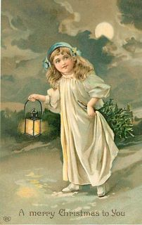 CHRISTMAS LITTLE GIRL HOLDING LANTERN IN SNOW EARLY K29057