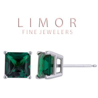 50 Carat 14k Solid White Gold Princess Cut Emerald Stud Earrings