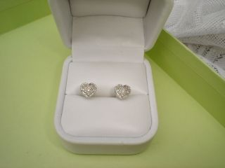 ROSS SIMONS 14KT WHITE GOLD PAVE DIAMOND HEART EARRINGS 50 CARAT