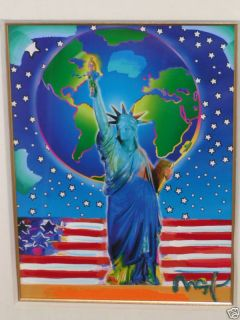 Peace on Earth Peter Max Signed Acrylic Painting Framed