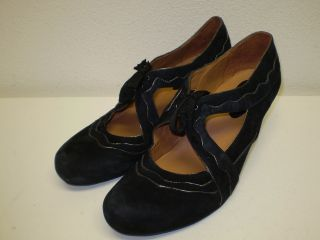 Earthies Sarenza Black Suede Leather Mary Jane Shoe Heels Tie Womens