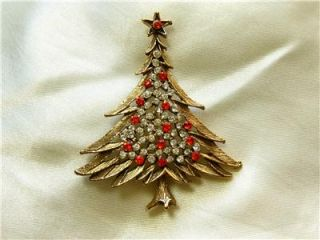 Beautiful Vintage Christmas Tree Red Rhinestone Signed MJ Ent Pin