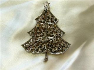 Beautiful Vintage Red Rhinestone Christmas Tree Signed Weiss Pin