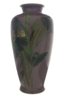 Gonda Insect on Palm Tree Japanese Cloisonne Vase large photo