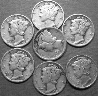 Silver Mercury Dimes Lot 7 Coins 1917, 1934,1938 D, 1942, 1942 D, 1942