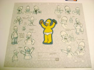 RARE Homer Simpson Simpsons Cel Art Background Bart Model