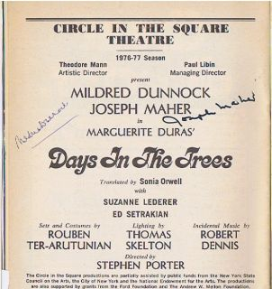 Mildred Dunnock Joseph Maher signed Marguerite Duras Days in the Trees