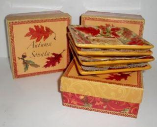 Sally Eckman Roberts Set Of 4 Autumn Sonata Mini Ceramic Plates