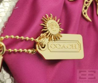 Tony Duquette for Coach Magenta Satin Gold Jeweled Flamed Heart Clutch