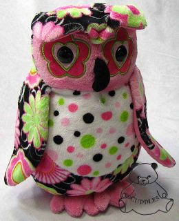 Marlene Owl Fuzzles Douglas Cuddle Plush Toy Stuffed Animal Bird Pink