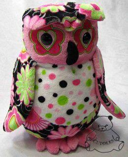 Marlene Owl Fuzzles Douglas Cuddle Plush Toy Stuffed Animal Bird Pink