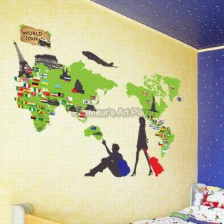 ECO 34 World Travel, Mural Decals Decor Home Art Removable Deco Wall