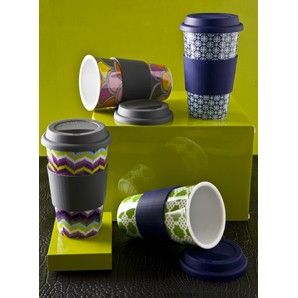 Jonathan Adler Eco Friendly Thermal Travel Mug Coffee Tea Cup Flame