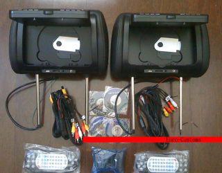 Mercedes Benz Black DUAL DVD Monitor Headrest USB SD W164 G ML GL R