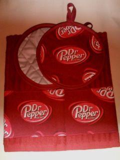 Dr Pepper Soda Pop Kitchen Towels and Potholders