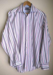 Thomas Dean Striped Dress Casual Shirt L