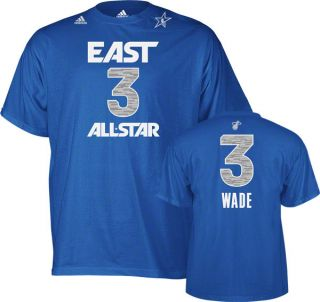 DWYANE WADE 3 MIAMI HEAT 2012 NBA ALL STAR EAST ADIDAS BLUE T SHIRT Sz