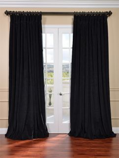 Black Double Wide Velvet Blackout Pole Pocket Curtains Drapes