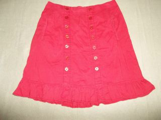 edme & esyllte Anthropologie Sz M RED BUTTON DETAIL RUFFLE HEM BOHO
