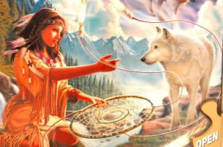 New 500 Piece Jigsaw Puzzle Dreamcatcher Native American Wolves SEALED