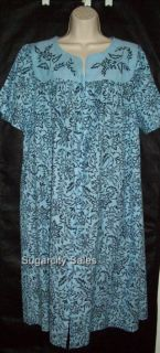 Go Softly Zip Front Patio House Dress Muu Duster L