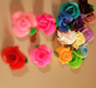 20pcs Mixed Color Fimo Polymer Clay Heart Flower Charmful Beads 10mm