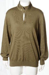 Massimo Dutti Olive Green Elbow Patch Collegiate Sweater Shirt Soft