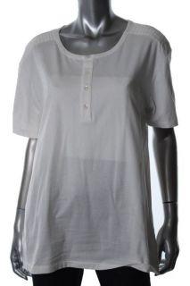 EDUN New Ivory Short Sleeve Shoulder Detail Henley Top Shirt L BHFO