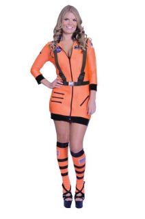 Adult Sexy Astronaut Womens Costume Halloween Orange Dress Up