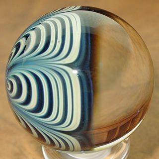 Signed Greg Seitz Light Green Small Cavern Art Glass Marble