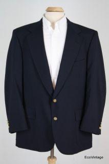 Navy Blue Wool Blend Brass Button Blazer Sport Coat Jacket 46 R