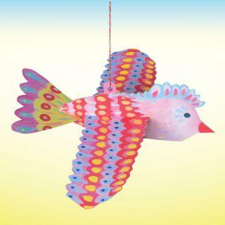 eeBoo Pink Floating Bird Durable Cardboard Decoration   approx 11