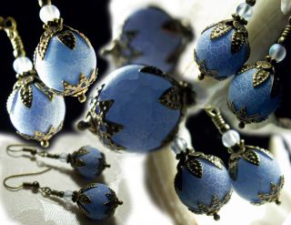 Light Powder Blue Dragon Vein Crystal Drop Earrings Vintage Victorian