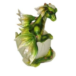 Dragon Green Egg Hatching Dragon Eggshell Statue Dragon Figurine