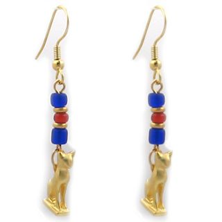 Egyptian Jewelry Bastet Cat Amulet Earrings Gold Plated