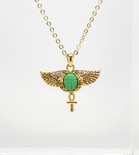 EGYPTIAN SCARAB OPENED WINGS ANKH CROSS ANCIENT EGYPT GOLDEN PENDANT
