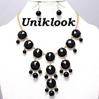 Chunky Necklace Earring Set Bubble Navi Blue Gold Bib Statement