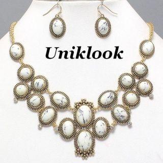 Clear Rhinestone Elegant Jewelry Necklace Chandelier Earrings Set