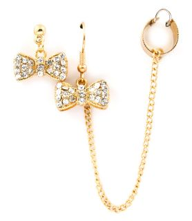 Bow Pierced Earrings with A Attached Chain Ear Cuff Gold Plated
